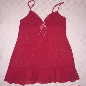Victoria's Secret Red Babydoll Chemise sheer M